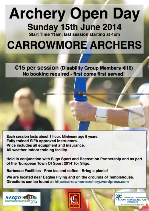 Carrowmore Archery open day poster