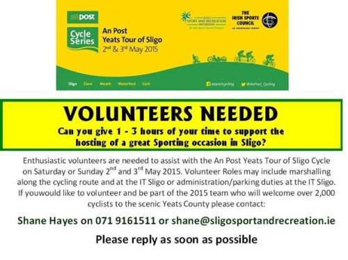 Volunteers needed! An Post Yeats Tour Of Sligo May 2015
