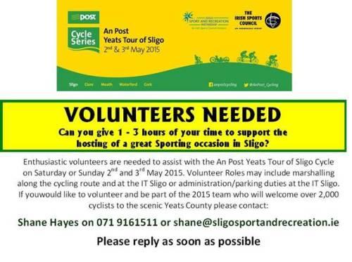 Volunteers needed! An Post Yeats Tour Of Sligo May 2015